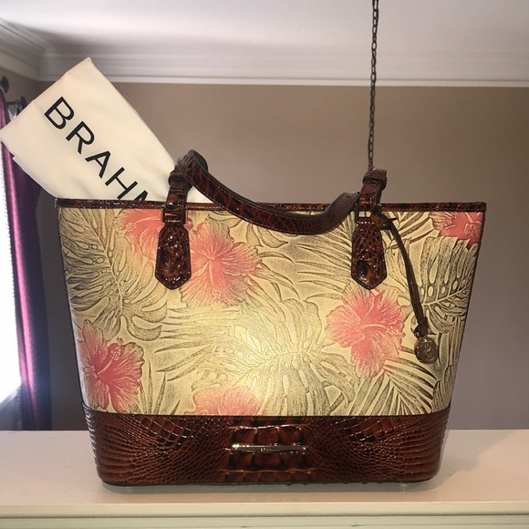 Brahmin Medium Asher Leather Tote Satchel Pecan Amina